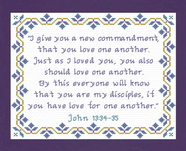 New Commandment John Cross Stitch Design Custom