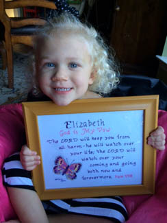 Elizabeth Name Blessings design stitched by her mother Kama